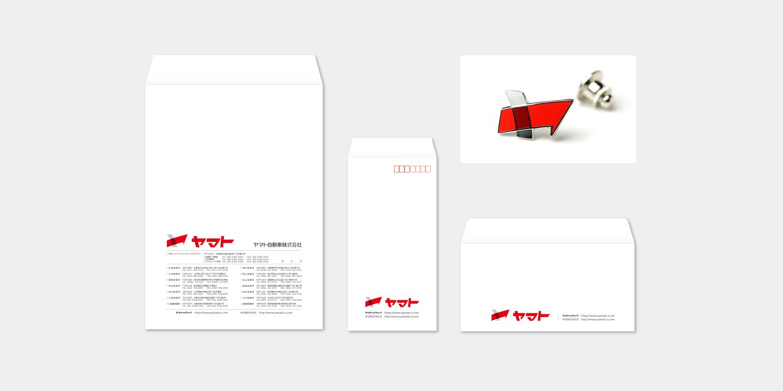 ヤマト自動車 企業ロゴ CI VI 封筒 社章バッジ デザイン